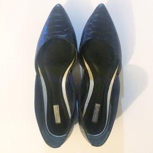 Schutz Black Leather Pointed Flats
